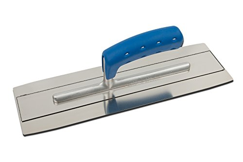 TREBI Doppelblatt Edelstahl-Glättekelle Softgriff blau 350 x 110 mm - Doubleflex - Profi Qualität - Made in Germany