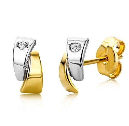 Miore Ohrringe Damen Bicolor Gelbgold/Weißgold 18 Karat / 750 Gold Diamant Brillianten
