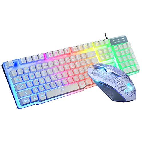 Chutoral Ergonomische USB-Gaming-Tastatur mit Hintergrundbeleuchtung, USB-Maus und kostenlosem Gaming-Mauspad, leuchtende Tastatur und Maus-Set, Desktop-Computer, Gaming-Manipulator-Gefühl (weiß)