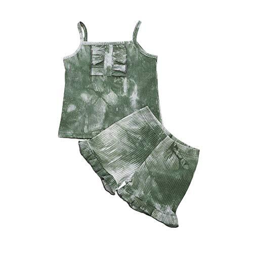Conjunto de dos piezas de tirantes para bebé niña de verano con estampado anudado y elegante camisola con volantes cortos