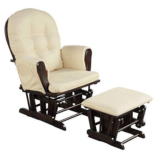 Costzon Baby Glider and Ottoman Cushion Set, Wood Baby Rocker Nursery Furniture, Upholstered Comfort Nursery Chair & Ottoman with Padded Arms (Beige)
