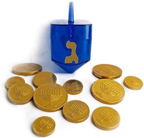 Hanukkah Gelt Milk Chocolate Gold Coins and Chanukah Dreidel Candy Container Gift (Blue)