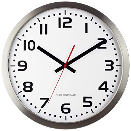 Eurotime Funkwanduhr, 40 cm, Edelstahlgehäuse, Echtglas, klares 12-Zahlen Zifferblatt, automatische Zeitein- und Zeitumstellung, für Wohnbereich oder Büro, rote Sekunde, nur für Innen, 59990-07