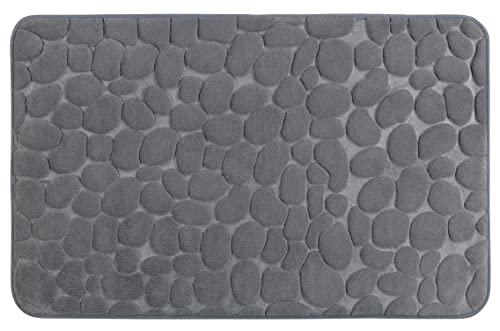 WENKO Tapis de bain Memory Foam Pebbles gris - Tapis de bain, antidérapant, qualité très douce avec rembourrage en mousse Memory, Polyester, 50 x 80 cm, Gris
