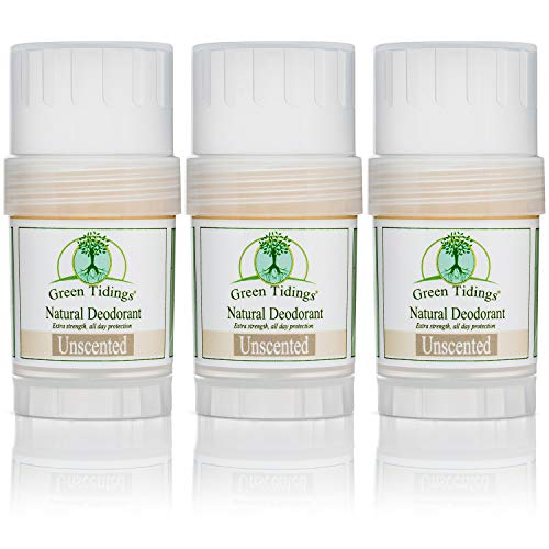Green Tidings Natural Deodorant - Unscented 1oz 3 PACK- 15% OFF -*Extra Strength* - Vegan - Cruelty-Free - Aluminum Free - Paraben Free - Non-Toxic - Organic - Gluten-free - Made in USA