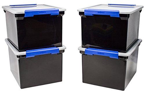 Storex de stockage de fichiers Tote avec poignées de verrouillage, 47 x 36,2 x 27,6 cm, Transparent/argenté (61530u01 C) Single Black/Silver