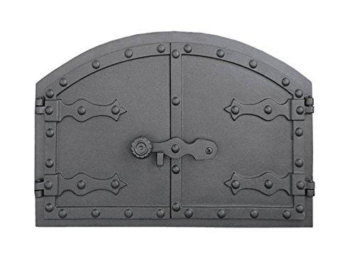 Tradehub Backofentür Ofentür Pizzaofentür Holzbackofentür Steinbackofentür aus Gusseisen | Außenmaße: 525x355 mm | Öffnungsrichtung: zweiflügelig