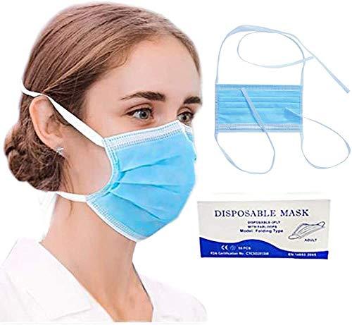 Dragonee 50/100 STK Farben Erwachsene Face_Protection mit Krawatte Hinter Kopf und Hals, Einstellbares Seil zur Entlastung des Ohrdrucks, für Menschen mit Empfindlicher Haut (100, Blau)