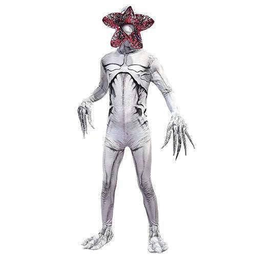 Amatop Niños Halloween Demogorgon Cosplay Cosas extrañas Disfraz Zentai Disfraz de Cosplay Cannibal Flower Body con máscara