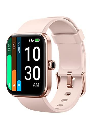 YAMAY Montre Connectée Femme Homme avec Oxymetre Alexa intégré Smartwatch Android iOS Podometre Marche Cardiofrequencemetre, Mode Natation, Fond d'écran Personnalisé, Prévision Météo, Gérer la musique