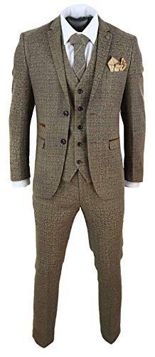 """Herrenanzug 3 Teilig Braun Tweed Design Peaky Blinders Stil Kariert - braun 52EU/42UK Sakko- 36\"""" Taille"""