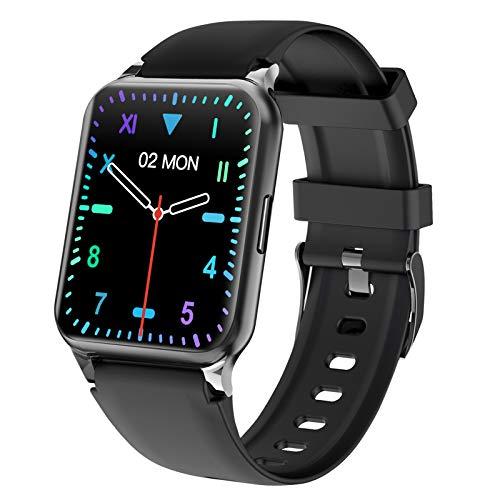 QFSLR Reloj Inteligente con Smartwatch para Hombres Y Mujer con Monitor De Frecuencia Cardíaca, Control De Música Impermeable IP67 Rastreador De Salud Compatible con iOS Android,Negro