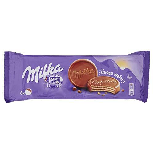 Milka Choco Wafer Barquillo de Galleta y Relleno de Chocolate con Leche, 180g