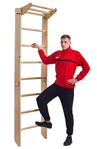 RINAGYM Sprossenwand Kletterwand in der Größe 230 (240) x 80 x 12 cm Turnwand Fitness Sportgerät Klettergerüst Holz Wandmontagematerial