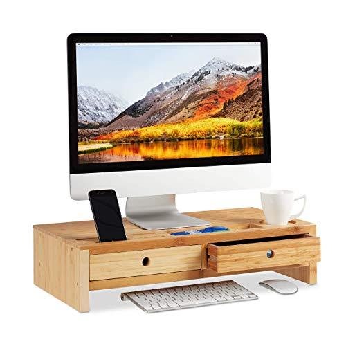 Relaxdays, Natur Monitorständer Bambus, Bildschirmerhöhung mit 2 Schubladen & Fächern, Bildschirmständer HBT 14x60x30cm, Standard