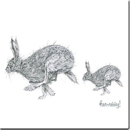Muttertagsgrußkarte, Aufdruck: mit rennende Hasen
