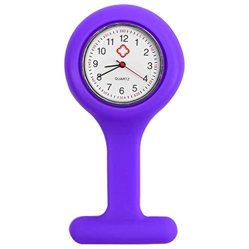 TRIXES Reloj de Bolsillo para enfermería de Silicona y con Clip para Colgar de la Bata - Violeta