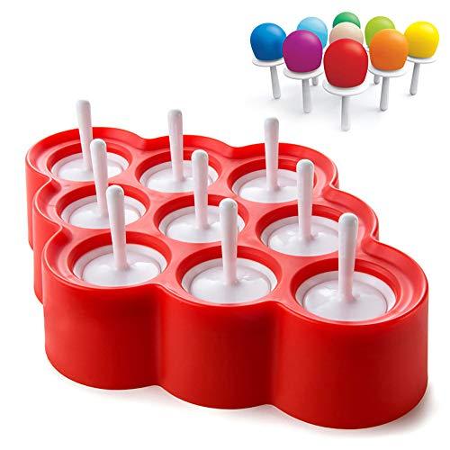 CCFCF Mini Molde de Helado Molde de Barra de Silicona Set Moldes de Polo de Hielo Reutilizable DIY Molde de Helado congelado Moldes de Hielo Lolly,Rojo