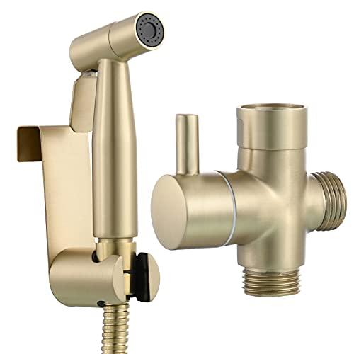 Tecmolog Ducha Bidet Acero Inoxidable Set de Pulverizador de Bidet Portatil para WC, Oro Cepillado, WS024J2F
