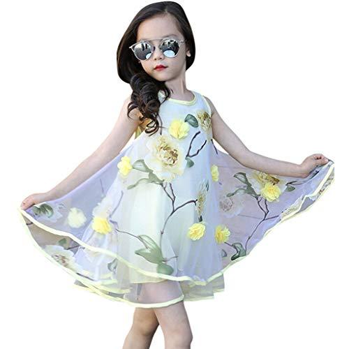 Zylione Mädchen Prinzessin Kleid Kind Baby 3D Blume Organza Weste Puff Kleid(Gelb140)