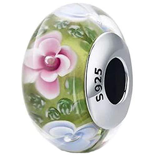 Chinesischer Garten Glas Perle Murano Charm für Pandora 925 Sterling Silber