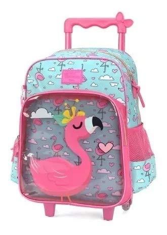 Mochila Infantil Grande Rodinhas Flamingo Transparente Up4you