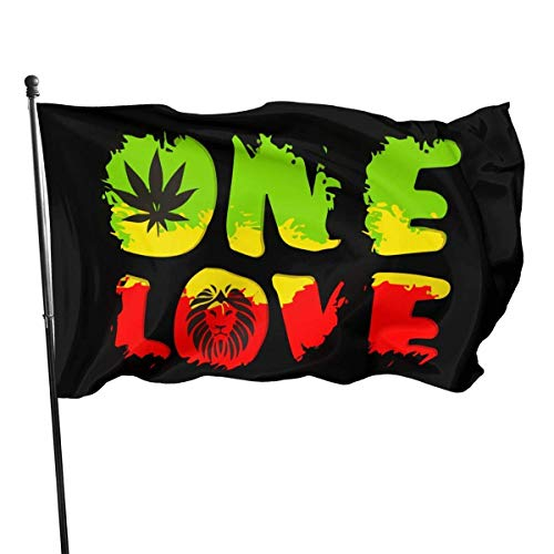 Just Life Gartenflagge, Patry-Flagge, Außenflagge, wetterfeste Rastafari - Grunge One Love Lion Gartenflagge, Demonstrationsflagge - 3 X 5 Ft