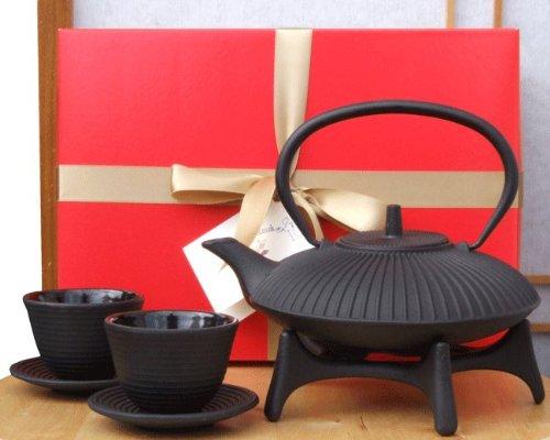 Gift Box–Zen Garden Tetsubin ghisa nero teiera bollitore tazze e stella stile giapponese sottopentola–0.8litri