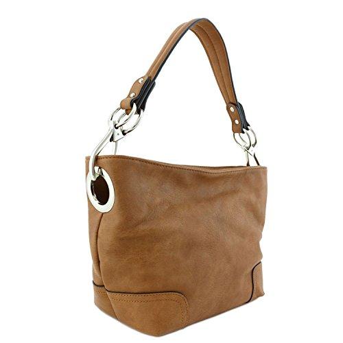 Small Hobo Shoulder Bag with Snap Hook Hardware (Camel)