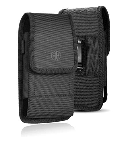 AH Military Grade Cell Phone Pouch Tactical Clip Holster Holder w/ Belt Loop for iPhone 8 Plus 11 12 Pro Max, S20 Plus Nylon Canvas Construction Cell Phone Holsters Fits Cell Phone w/ Otterbox (Large)