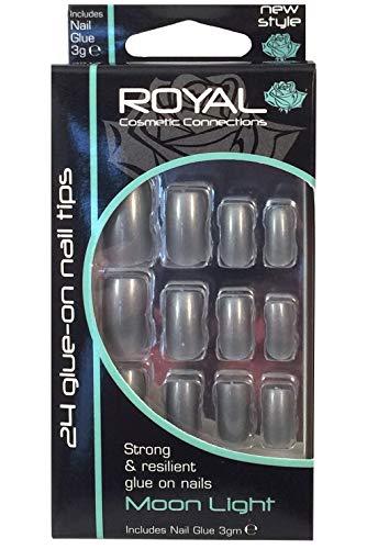 Royal Moon Light - Kit 24 Faux Ongles & Colle - Gris Argenté