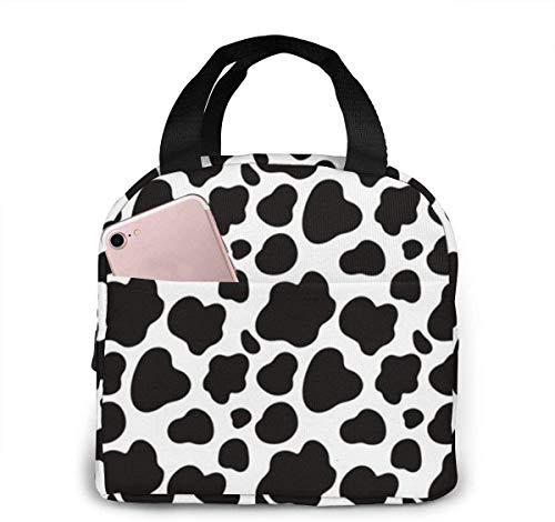 Bolsas de almuerzo aisladas con estampado de vaca en blanco y negro para mujeres y niñas,bolsas organizadoras más frescas,reutilizables,impermeables,para el trabajo de adultos,la escuela y el picnic