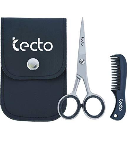 Tecto Tijeras para barba, bigote y orejas - Juego de cuidado multifuncional Juego de regalo con tijeras y peine con cuchillas afiladas (Garantía de larga duración) 4.5 pulgadas