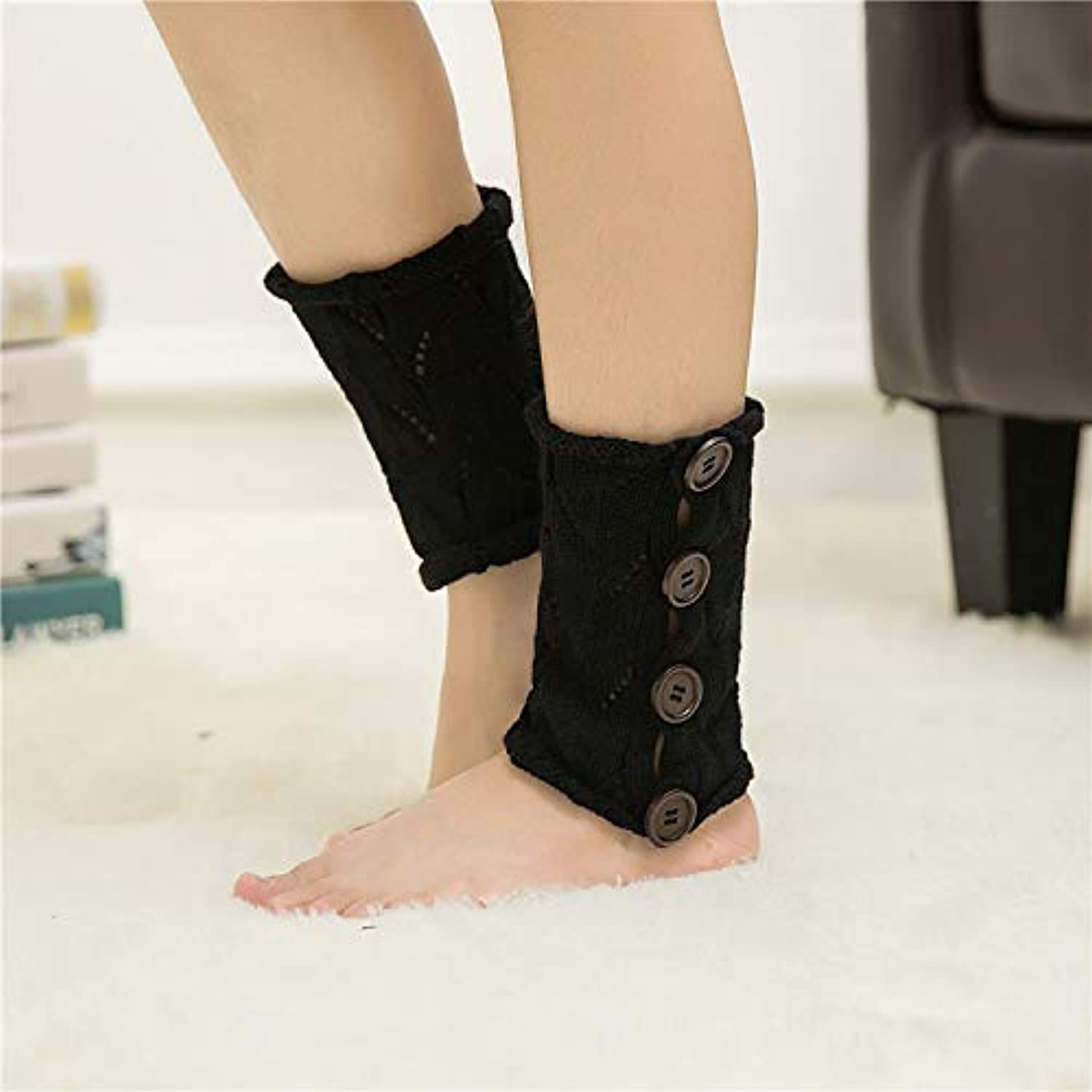Winter Women Girls Autumn and Winter Socks, Female Acrylic, Four Buckles, Hollow Knee Pads, Sets of Thin Piles of Socks (color   Black) Leg Warmers
