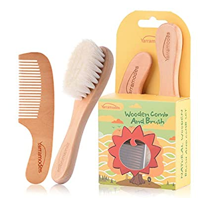 Baby Goat Hair Brush and Comb Set for Newborns & Toddlers Eco-Friendly Safe Brush for Cradle Cap Natural Wooden Comb Perfect Baby Shower and Registry Gift (Baby Hair Brush and Comb Set) by Yarra Modes