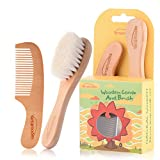 Baby Goat Hair Brush and Comb Set for Newborns & Toddlers Eco-Friendly...