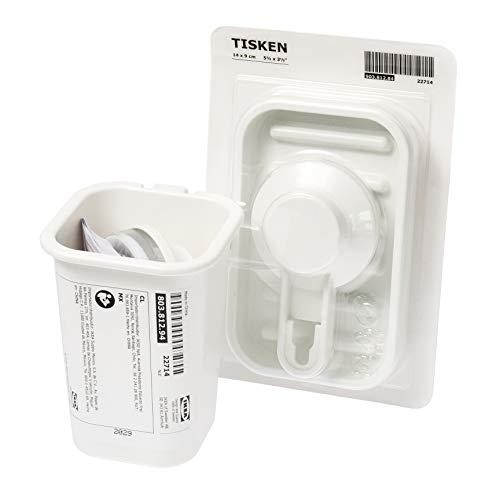Ikea TISKEN Seifenablage und Zahnbürstenhalter mit Saugnäpfen, ohne Bohren, Weiß