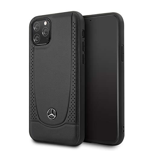 Mercedes-Benz Handyhülle für iPhone 11 Pro Max Echt Leder Case mit Perforationen und Mercedes Benz Logo Hard Case schwarz | Easy Snap Snap | Fallschutz | Offiziell lizenziert
