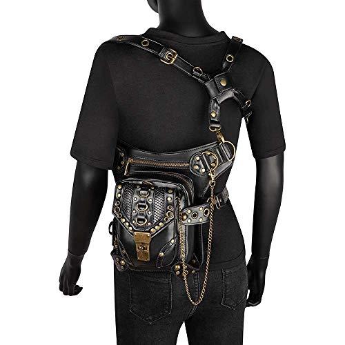 DC Wesley PU Steampunk Retro Motorcycle Bag Ladies Shoulder Messenger Bag Vertical Section Soft Surface Female Pockets Motorcycle Bag Black (Color : Black)