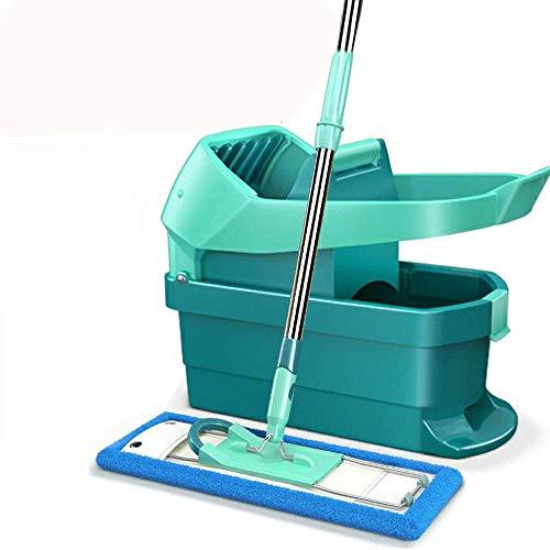 1yess Fregona del Piso de Madera Dura con Las Almohadillas Planas, la manija de Acero Inoxidable y la extensión del baño de la Sala de Estar Herramienta de Limpieza de la Cocina (Color: Verde)