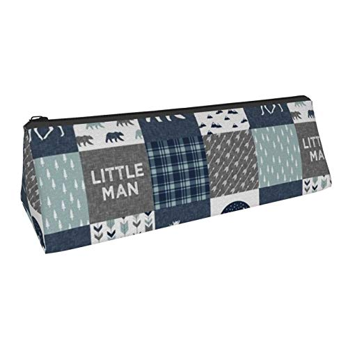 Triangle Pen Bag Happy Camper Little Man Bear and Moose Navy and Dusty Blue Cosmetic Bags Storage Bags Stationery for Schools Students Offices Pen Pouch 8.6 X 3.1 Inch