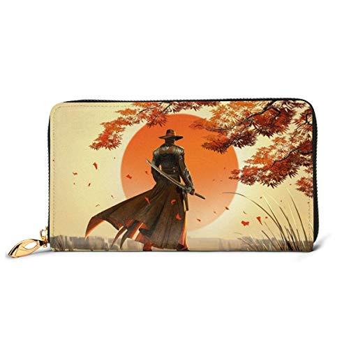 Cuero embrague rojo de acero vaquero Samurai cartera cremallera mujeres moda monederos bolso teléfono crédito multi tarjeta titular organizador carteras