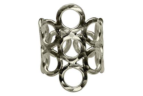 SILBERMOOS Anillo de mujer con estructura de juego de círculos martillado brillante Plata esterlina 925, Tamaño del anillo:22