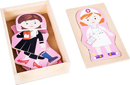 small foot 10528 puzzel van hout, vier verschillende meisjesberoepen kunnen puzzeltent worden, praktische houten kist voor opslag of op reis, geïntegreerde legvorm in het deksel