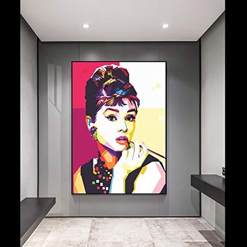 KWzEQ Leinwanddrucke Mode Filmstar Wanddekoration für Wohnzimmer Wandkunst Bild nach Hause Poster Kunstwerk40x50cmRahmenlose Malerei