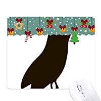 黒フクロウ動物の描写 ゲーム用スライドゴムのマウスパッドクリスマス