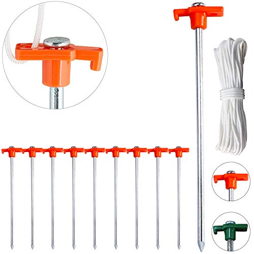 ABCCANOPY Tent Stakes, Camping Tent Stakes, 10' Galvanized Non-Rust Stakes Pegs for Pop Up Canopy, Camping Tent, Tree Tent, Hiking, 10pc-Pack, Bonus 4pcs 10ft Ropes & 1 PVC top (Orange)