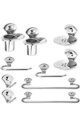 capital 9 Stainless Steel Bathroom Accessory Set Robe Hook/Towel Rack/Towel Bar/Soap Dish/Tumbler Holder -10 Pieces, Set of 2