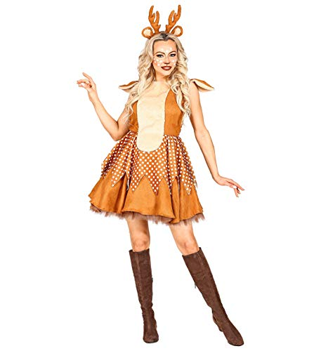 shoperama REH - Disfraz para mujer con diadema de cuernos y orejas, ciervo, cervatillo y bambi, talla L