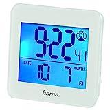 Hama - Sveglia radiocomandata RC 610, con retroilluminazione e funzione snooze controllabile tramite sensore di movimento, allarme velocità), colore: Bianco